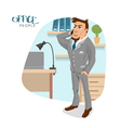 business man talking by the phonein his office vector image