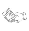 check in hand e-commerce single icon in outline vector image vector image