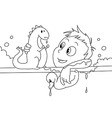 Child having a bath bw vector image