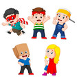children posing like the super heroes vector image