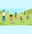 children soccer kids play football in park vector image