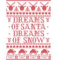 christmas pattern dream so santa dreams of snow vector image vector image
