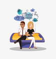 couple user devices sitting on big cellphone vector image vector image