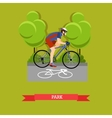 Cycling in the park flat design vector image vector image