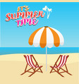 deck chair and umbrella on beach vector image