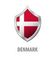 denmark flag on metal shiny shield vector image