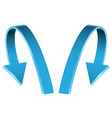 double blue arrow 3d curve direction on white vector image vector image