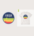 fresh wave graphic summer t-shirt design retro vector image