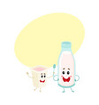 funny milk bottle yogurt cup characters with vector image vector image