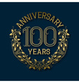 Golden emblem of hundredth years anniversary vector image vector image