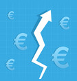 graph arrow up euro increase value vector image vector image