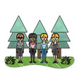 grated women friends together with pine trees vector image vector image