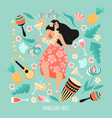hawaiian party concept with dancing girl vector image