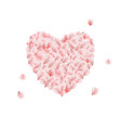 heart made from pink rose petal vector image vector image
