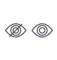hide show linear icons with eye vector image