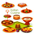indian cuisine lunch with traditional asian food vector image vector image