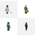 isometric people set of housemaid plumber vector image vector image