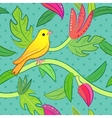Nature seamless pattern with bird and leaf vector image vector image
