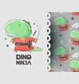 ninja dino cute characters vector image vector image