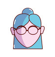 old woman face with glasses and hairstyle vector image vector image