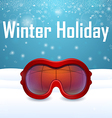 Outside close up red ski goggles vector image vector image