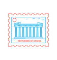 parthenon of athens postage stamp blue and red vector image