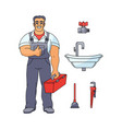 plumber man thumbs up and tools vector image vector image
