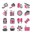 rhubarb icon set vector image vector image