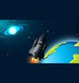 rocket in space scene vector image vector image