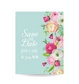 Save the date card with blossom ranunculus flowers