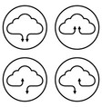 set icons service cloud data storage vector image