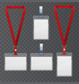 set lanyard and badge template plastic badge vector image