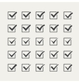 Set of twenty-five different grey ticks or check vector image vector image