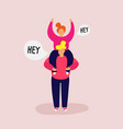 smiling girl sits on shoulders of guy raise hands vector image