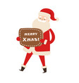 smiling santa claus with brown table merry xmas vector image