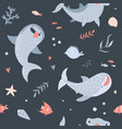 summer seamless pattern with hand drawn sharks vector image vector image