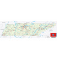 tennessee road map with flag vector image vector image