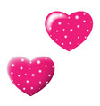 two shiny valentines hearts isolated on white vector image
