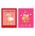 valentines day postcards with cute fluffy bears vector image vector image