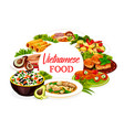 vietnamese dishes icon with fish meat and dessert vector image vector image