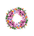 watercolor flower roses wreath vector image