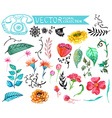 Watercolor flowers collection vector image