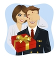 wife standing behind husband with gift vector image vector image