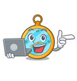 with laptop pocket vintage watch on a cartoon vector image