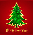 glowing emerald christmas tree isolated on the red vector image