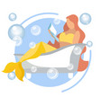 a mermaid woman is reading a book in bathroom vector image vector image