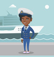 african ship captain in uniform at the port vector image vector image