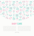 baby care concept with thin line icons vector image vector image