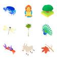 beast icons set cartoon style vector image