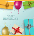 birthday greeting card with gifts and balloons in vector image